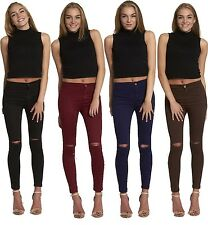 New Women Ladies Skinny High Waisted Knee Ripped Cut Tube Jeans Jeggings UK SIZE