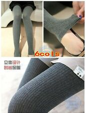 Womens Thick Striped Tights Knit Winter Warm Cotton Stockings Fashion Pantyhose