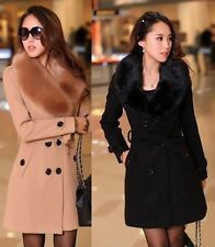 Women ladies Winter Double-Breasted Wool Faux Fur Trench Parka Coat Jacket S