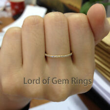 Full Eternity Band Diamond 14K Yellow Gold Wedding Ring Stackable Thin style