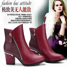 2015 Fashion Ladies Sexy High Heels leather Black Red wine Ankle Boots Shoes
