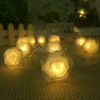 30 LED Lichterkette Batterie Hochzeit String Licht DIY Rose Blume Warmweiß