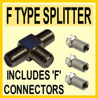 2 Way Coax T Splitter & 3 F Connectors for DIGITAL TV SATELLITE CABLE- Quality