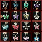 ~ Pretty Butterfly Glitzy Kitsch Necklace~Free P&P~ Various Colours~Gift Idea ~