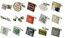 PAIR Personalised Custom Photograph Logo Image Text Picture Cufflinks / Tie Pin