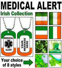 MEDICAL ALERT NECKLACE - Irish Ireland Collection - 2-sided PERSONALIZE Dog Tag