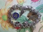 ELCO STERLING SILVER DOUBLE CHAIN BRACELET WITH HEARTS. VINTAGE 1966. USED