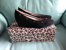 NIB Women's FS/NY French Sole Midas Black Leather Suede Wedge Shoes Italy