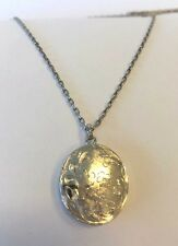 """Vtg Sterling Silver 925 Locket Opens Charm Oval Etched Pendant & Necklace 17.75"""""""