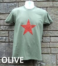 Communist Red Star T Shirt Soviet CCCP USSR Army Green / Khaki / White
