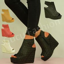 NEW WOMENS HIGH WEDGE HEEL PLATFORMS LADIES ANKLE SANDAL BOOTS SHOES SIZE UK 3-8