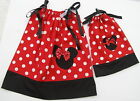 "Minnie Mouse Pillowcase Dresses Girls & 18"" Doll Size 1T,2T,3T Multi-col Red Blk"