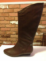 Calvin Klein Fiona Women's Knee High Fashion Leather Boots Brown