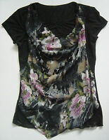 Black Flowery Short Sleeves Top With Necklace/chain
