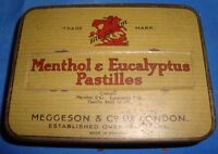 Old Vintage Tin Menthol & Eucalyptus Pastilles Box from England 1930 very rare