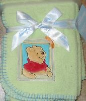 Baby Disney Winnie Pooh Bear Applique Super Plush Soft Blanket Mint Green NEW