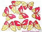 PINK BUTTERFLY WINDOW CLING STAINED GLASS EFFECT DECALS SUN CATCHER DECORATION