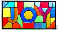 VICTORIAN `JOY WINDOW CLING STAINED GLASS LOOK SUN CATCHER DECORATION DOOR DECAL