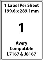 Avery L7167 Compatible Inkjet/Laser - 1 Blank Address Label - 5 Sheets