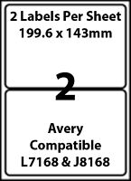 Avery L7168 Compatible Inkjet/Laser - 2 Blank Address Labels - 5 Sheets
