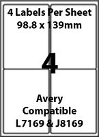Avery L7169 Compatible Inkjet/Laser - 4 Blank Address Labels - 5 Sheets