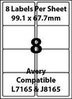 Avery L7165 Compatible Inkjet/Laser - 8 Blank Address Labels - 5 Sheets