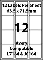 Avery L7164 Compatible Inkjet/Laser - 12 Blank Address Labels - 5 Sheets