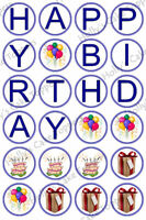 HAPPY BIRTHDAY CUP CAKE Rice Paper Photo Toppers x 24