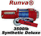 3500lb New Runva ATV UTV 12V Towing Recovery Electric Winch W/ Synthetic SD Pack