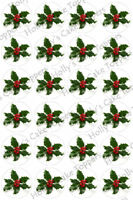 HOLLY CHRISTMAS CUP CAKE Rice Paper Photo Toppers x 24