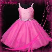 Girl Hot Pink Prom Wedding Party Flower Girls Dresses Age 2 to 10 Years