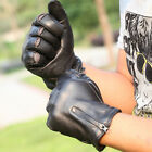 Mens GENUINE LEATHER motorcycle driving zipper gloves
