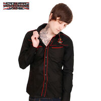 NEW MENS WESTERN ROCKABILLY SHIRT EMBROIDERED ANCHOR TATTOO SIZES XS S M L XL