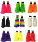 NEON UV PINK BLACK PURPLE FLUFFIES FLUFFY LEGWARMERS FURRY BOOT COVERS HALLOWEEN