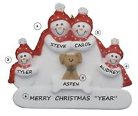 Personalized Snowman Family of 4 w/ Dog Christmas Ornament