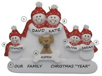 Personalized Snowman Family of 5 w/ Dog Christmas Ornament