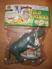 80'S VINTAGE WILD ANIMAL RHINO PLASTIC TOY ZOO MIB
