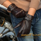 Warmen Men's GENUINE NAPPA LEATHER GLOVES w/ buckles at cuff black brown M021PC