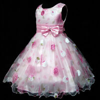 UK Kids Pinks Christmas Party Flower Girls Pageant Dresses SIZE 2-3-4-5-6-7-8-9Y