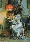 Lady At Desk~counted cross stitch pattern #431~People Ladies Vintage Graph Chart
