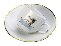 Meissen Porcelain Limited Edition Cup and Saucer Decorated With A Pug Dog 290585