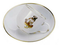 Meissen Porcelain Limited Edition Cup and Saucer Decorated With A Pug Dog 290785