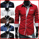 THELEES Mens Casual Long Sleeved Stretchy Slim Fit Shirts Collection1