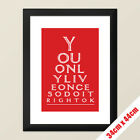 Retro Poster Eye Chart Style with Mae West Quote Print A3 size FRAMED