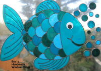 BEA'S LARGE  FISH STAINED GLASS EFFECT WINDOW CLINGS MIRROR TILE DECORATION