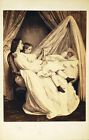 CDV ILLUSTRATION OF MOTHER AND CHILD WATCHING OVER INFANT