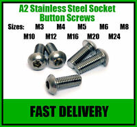 A2 Stainless Steel Button Head Allen Socket Screw Bolts - M10 and M12