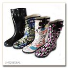 NEW WOMEN RAIN BOOTS TEXTILE LINING LIGHT WEIGHT FLEXIBLE SOLE WITH COOL PRINTS