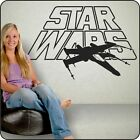 Large STAR WARS LOGO with X-WING vinyl bedroom wall Decal Sticker NEW BIG!