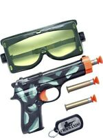 Army Soldier Gun Bullets Dog Tag Goggles Fancy Dress Costume Accessories Kit